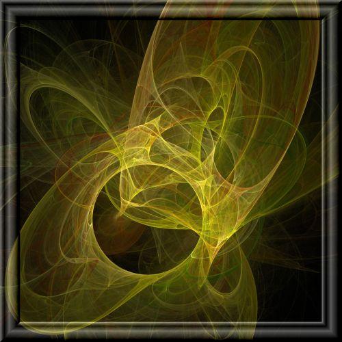 geltona, fraktalas, liepsna, 3d, stiklas, rėmas, geltonas fraktalas