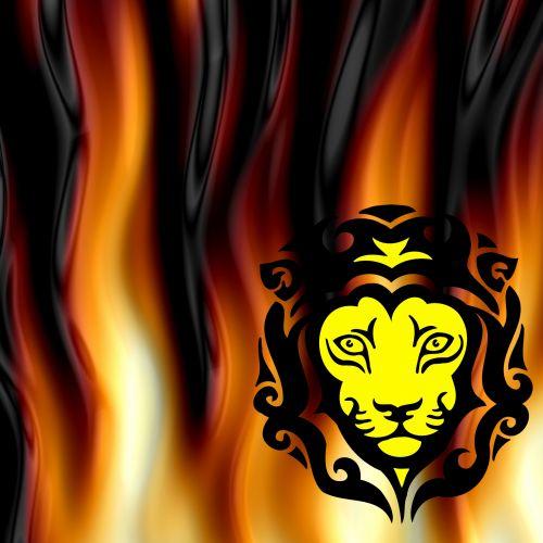 geltona, liūtas, galva, talismanas, juoda, raudona, liepsnos, fonas, Ugnis, geltonas talismanas