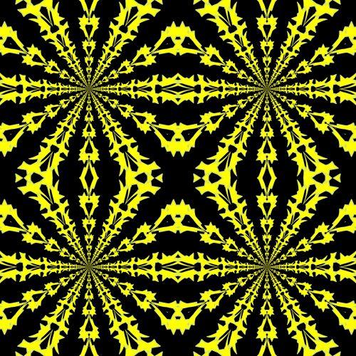 simetriškas, piešimas, geltona, žvaigždės, juoda, fonas, Kaleidoskopas, geltonos žvaigždės 2