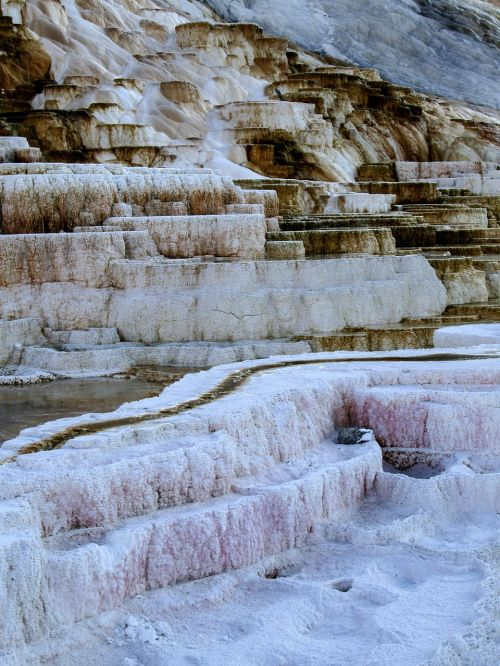 geltonojo akmens nacionalinis parkas,Vajomingas,usa,kraštovaizdis,peizažas,turistų atrakcijos,erozija,geizeris,gamta,vulkaninis,mineralai,vanduo,garai,vulkanizmas,karštas,geoterminė energija,spalvinga,mamutas karštas pavasaris,terasa,terminiai šaltiniai,indėliai,karštas vanduo,kalkakmenis