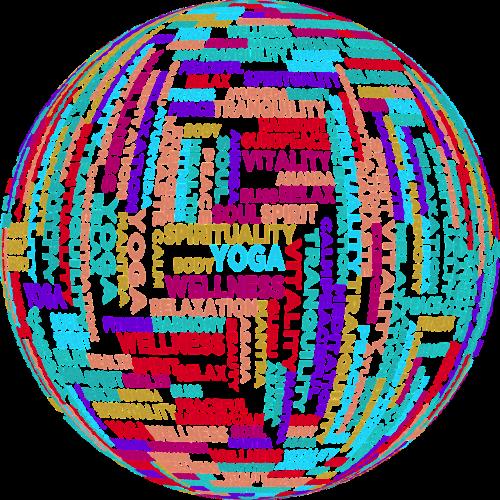 joga,tipografija,tipo,tekstas,žodžiai,zen,meditacija,buda,budizmas,atsipalaidavimas,ramus,ramybė,abstraktus,geometrinis,menas,pratimas,fitnesas,sveikata,ištempimas,žodis debesis,tag cloud,3d,sfera,gaublys,orb,svg,nemokama vektorinė grafika