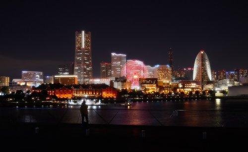 Yokohama, naktinis vaizdas, naktis, Japonija, statyba, Minatas Mirai, žymus objektas bokštas, kraštovaizdis, uosto, Kanagawa Japonija