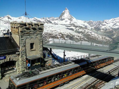 Zermatt, Matterhorn, Šveicarija, Kalnai, Alpių, Gornergrat
