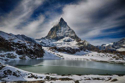 zermatt,matterhorn,kalnas,Alpės,mount matterhorn,žiema,Šveicarija
