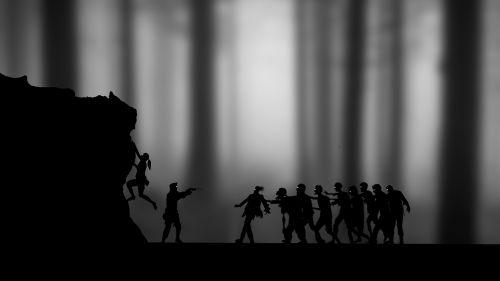 zombiai,siluetas,mergaitė,berniukas,pistoletas,Halloween,baugus,siaubas,creepy,miręs,mirtis,tamsi,košmaras,žudyti zombius,rekreacinė,taupanti mergina,Rokas,teroras,Undead,pilka masta,tapetai,hd tapetai,tamsi medžiai,skaitmeninis menas,skaitmeninis turinys,photoshop menas,silueto peizažas,silueto menas,grafika